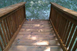 wood steps after stain