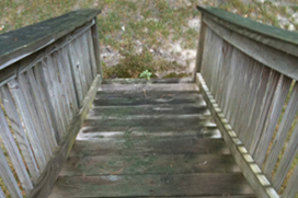 wood steps before stain